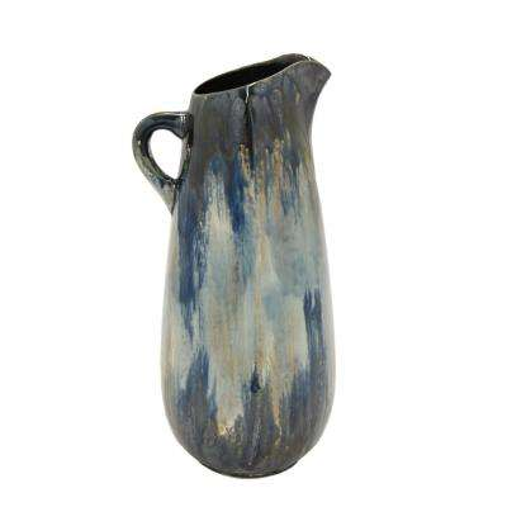 Multi-Colored Ceramic Pitcher Decorative Vase with Glossy Finish