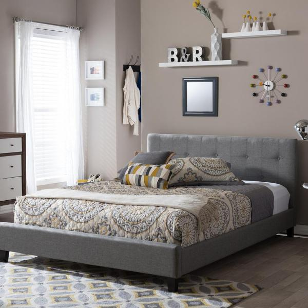 Baxton Studio Annette Gray Queen Upholstered Bed 28862-5128-HD