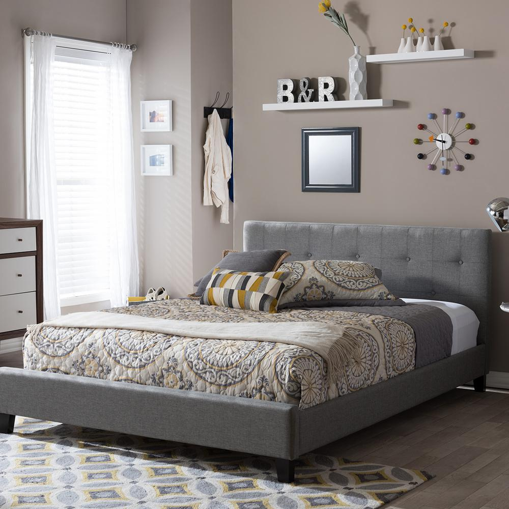 Annette Gray Queen Upholstered Bed