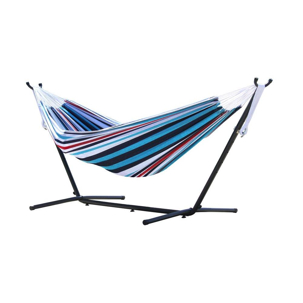 Cotton Double Hammock With Stand In Denim