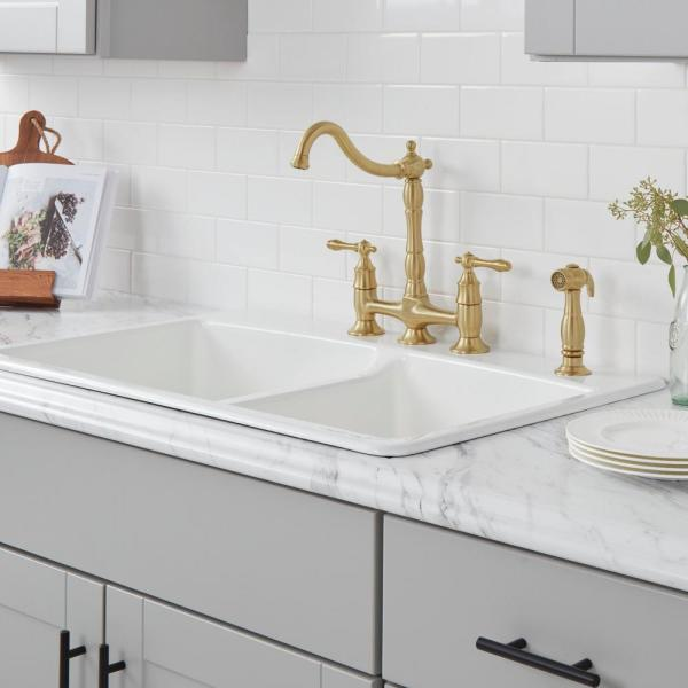 Glacier Bay Lyndhurst 2 Handle Bridge Kitchen Faucet With Side Sprayer In Matte Gold Hd852n 0554405 The Home Depot