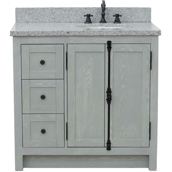 Bellaterra Home 37 In W X 22 In D In X 36 In H Bath Vanity In Gray Ash And Gray Granite Vanity Top With Right Side Oval Sink Bt100 37r Gya Gyo The Home Depot