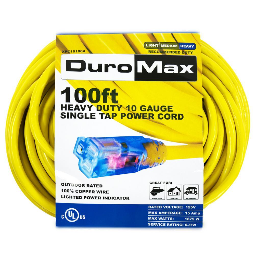 100 ft. 10/3-Gauge Single Tap Extension Power Cord