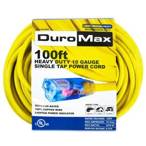 Duromax XPC10100A 100 ft. 10/3 Gauge Single Tap Extension Power Cord by Duromax