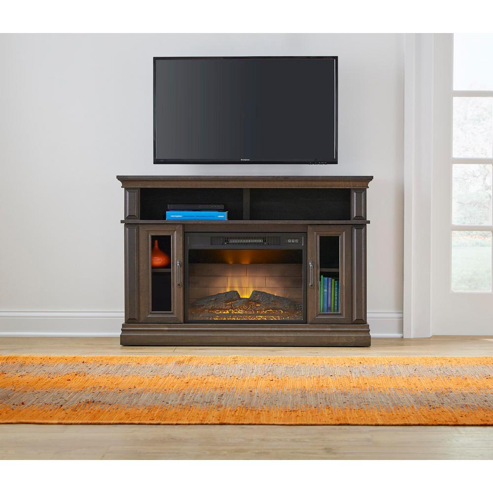 Flint Mill 48in Media Console Electric Fireplace in Beige Brown Oak Finish