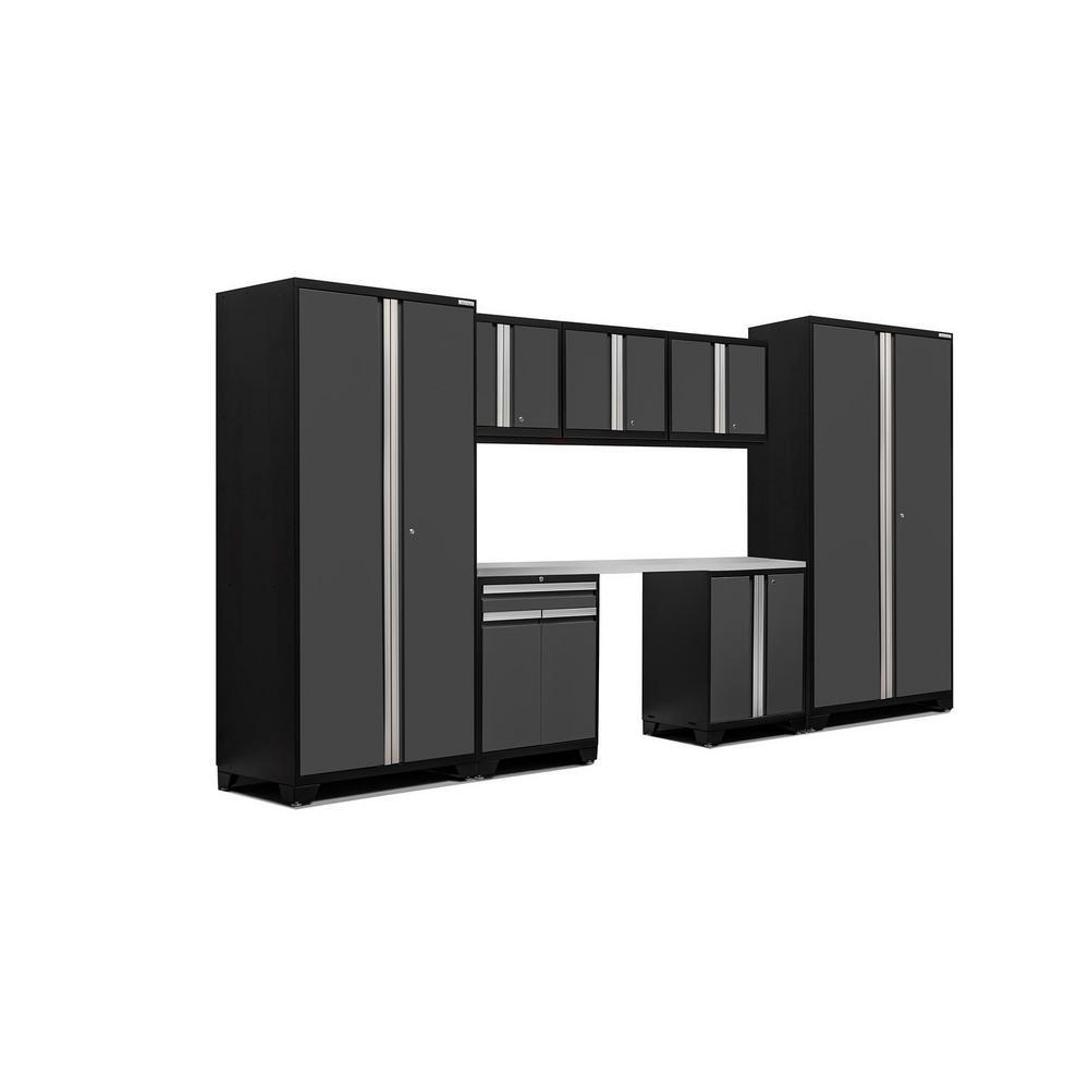 Pro 3.0 83.25 in. H x 156 in. W x 24 in. D 18-Gauge Welded Steel Stainless Steel Worktop Cabinet Set in Gray (8-Piece)