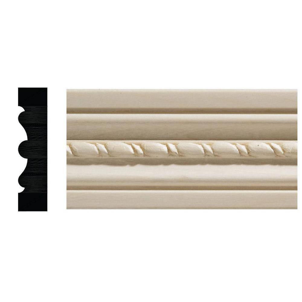 1124-7 1/2 in. x 2-1/8 in. x 84 in. White Hardwood Embossed Rope Casing Moulding