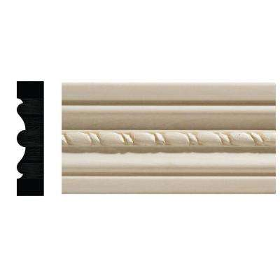 1124-7 1/2 in. x 2-1/8 in. x 84 in. White Hardwood Embossed Rope Casing Moulding
