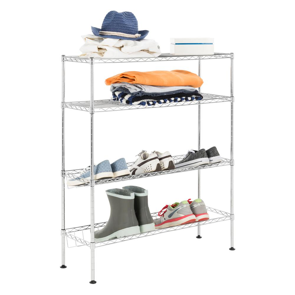 happimess Carrie35.8 in. 4-Tier Chrome Shoe Rack