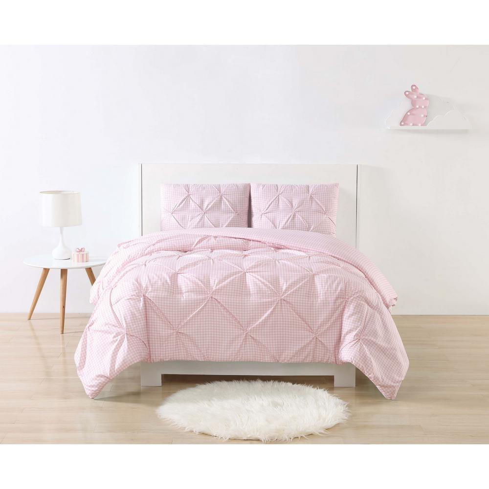 Anytime Gingham Pinch Pleat Pink Queen Duvet Set