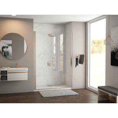 Illusion 41 in. to 42.25 in. x 66 in. Semi-Frameless Shower Door with Inline Panel in Brushed Nickel and Clear Glass