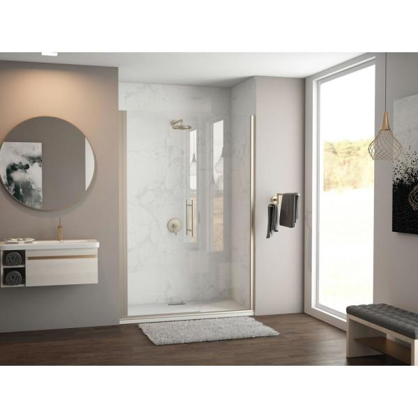 Illusion 61 in. to 62.25 in. x 75 in. Semi-Frameless Shower Door with Inline Panel in Brushed Nickel and Clear Glass