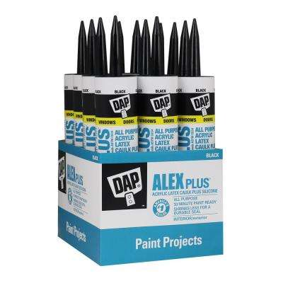 Black Acrylic Latex Caulk Plus Silicone 12 Pack