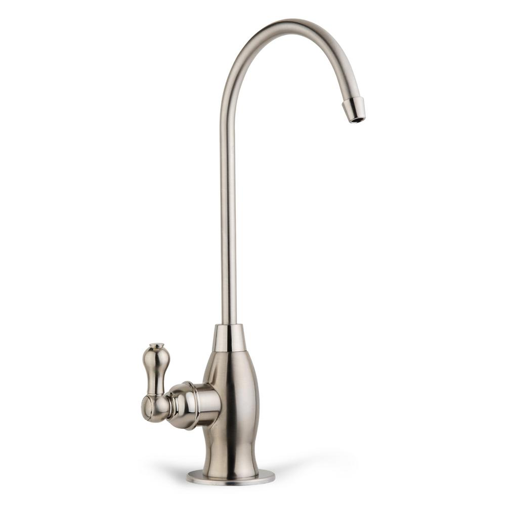 Drinking Water Coke Shaped High-Spout Faucet in Brushed Nickel