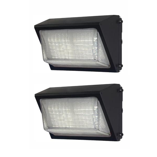 High-Output 450-Watt Equivalent Integrated Outdoor LED Wall Pack, 6800 Lumens, Dusk to Dawn Outdoor Light (2-Pack)