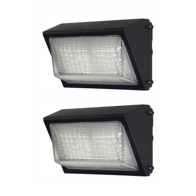 High-Output 50-Watt  LED Wall Pack, Bronze, 6800 Lumens, Dusk to Dawn Outdoor Light (2-Pack)