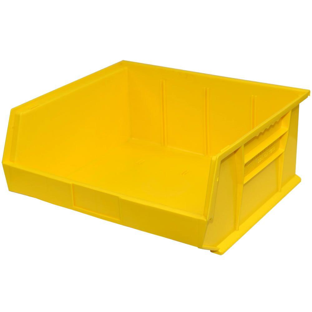 Storage Concepts 16-1/2 in. W x 14-3/4 in. D x 7 in. H Stackable Plastic Storage Bin in Yellow (6-Pack)