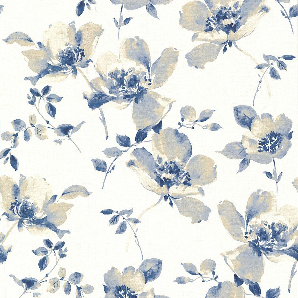Brewster Ludor Blue Floral Wallpaper Sample