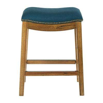 Austin 26 in. Klein Azure Fabric Counter Stool with Antique Bronze Nailheads