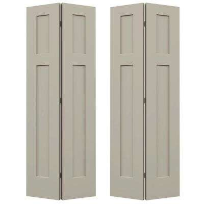 72 in. x 80 in. Craftsman Desert Sand Painted Smooth Molded Composite MDF Closet Bi-fold Door
