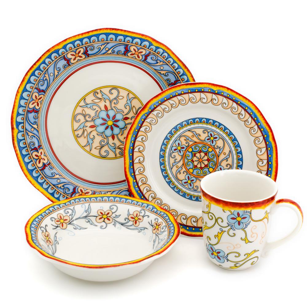 Euro Ceramica Duomo Dinnerware 7-Piece Casual Multicolor/Hand-Crafted Oven  Safe Finish Stoneware Dinnerware Set (Service for 7)-Duo-7627 - The Home