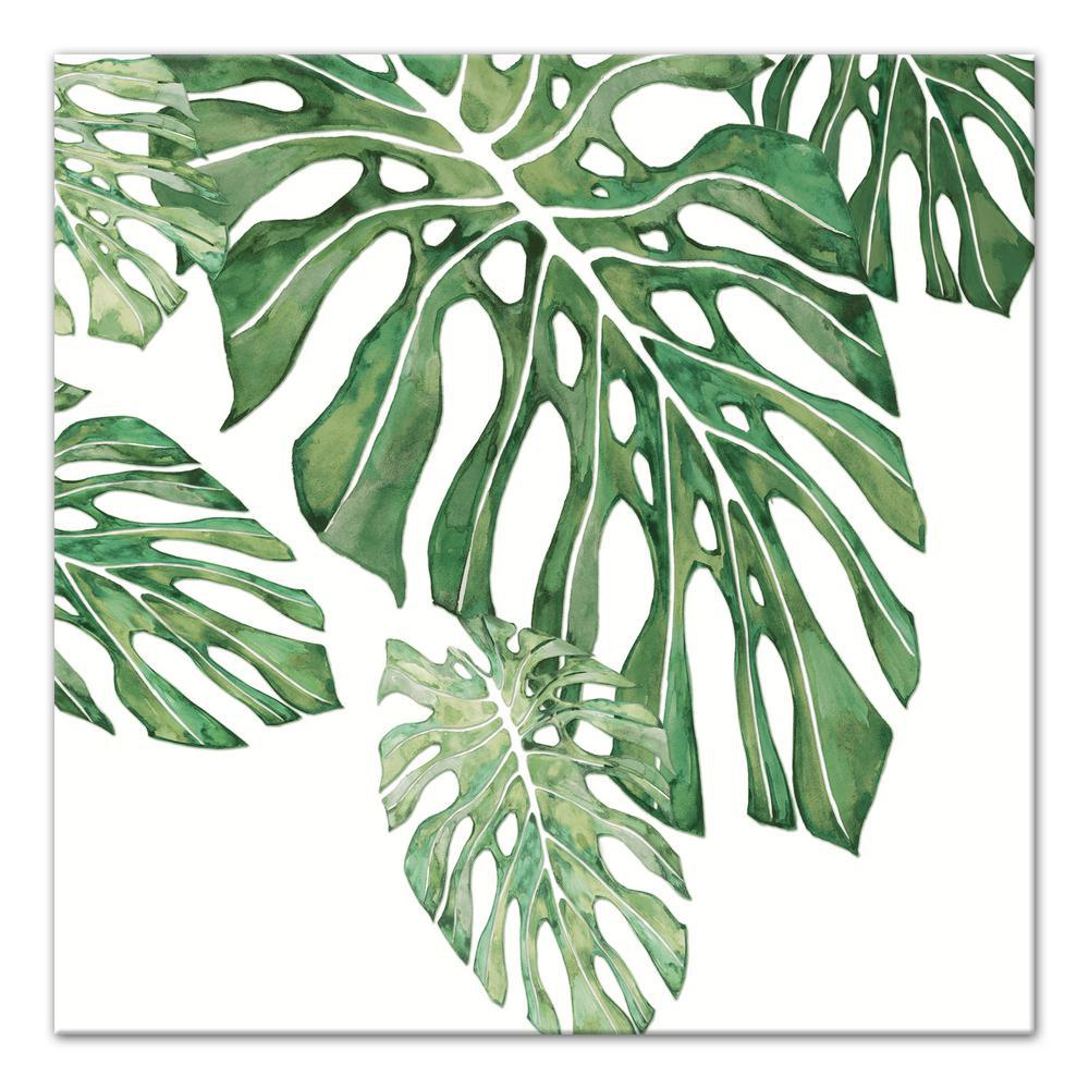 designs direct 16 in x 16 in green tropical leaves printed