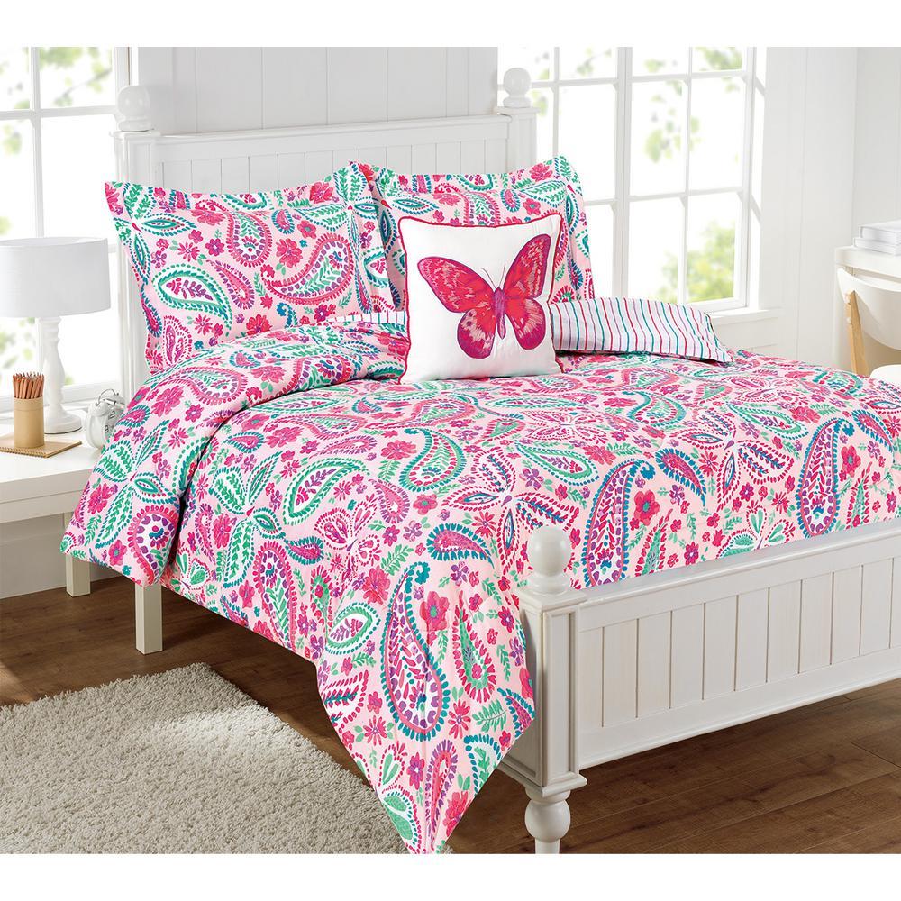 watercolor flutter 3piece multicolor twin comforter set with a decorative pillow