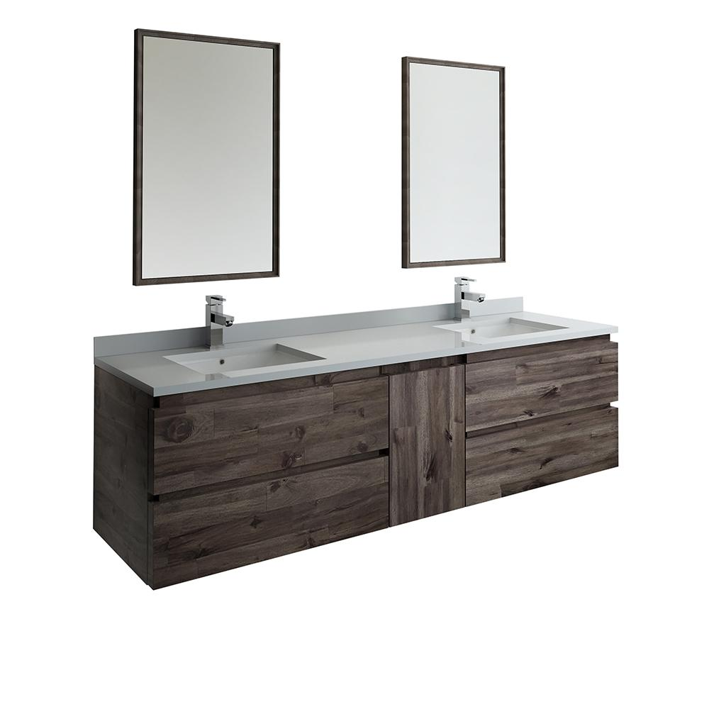 Fresca 72 in. Modern Double Wall Hung Vanity in Warm Gray with Quartz Stone Vanity Top in White with White Basins and Mirror