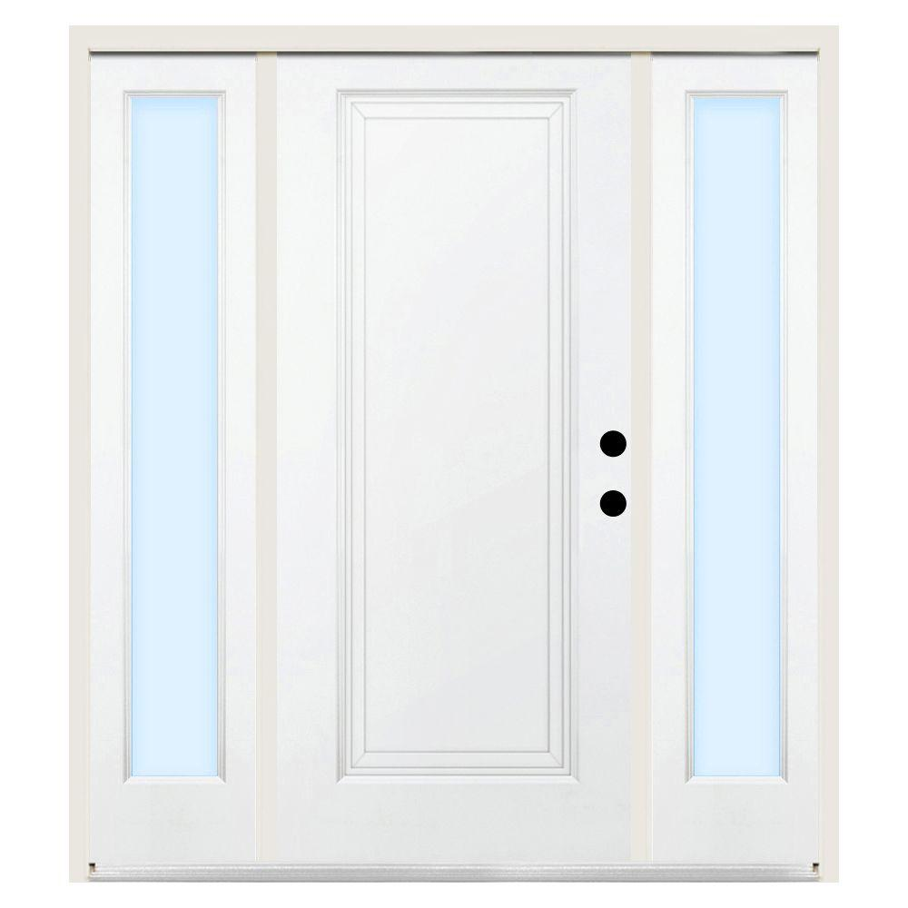 Steves & Sons 68 in. x 80 in. Premium 1-Panel Left-Hand Primed Steel Prehung Front Door w/ 14 in. Clear Glass Sidelite and 6 in. Wall