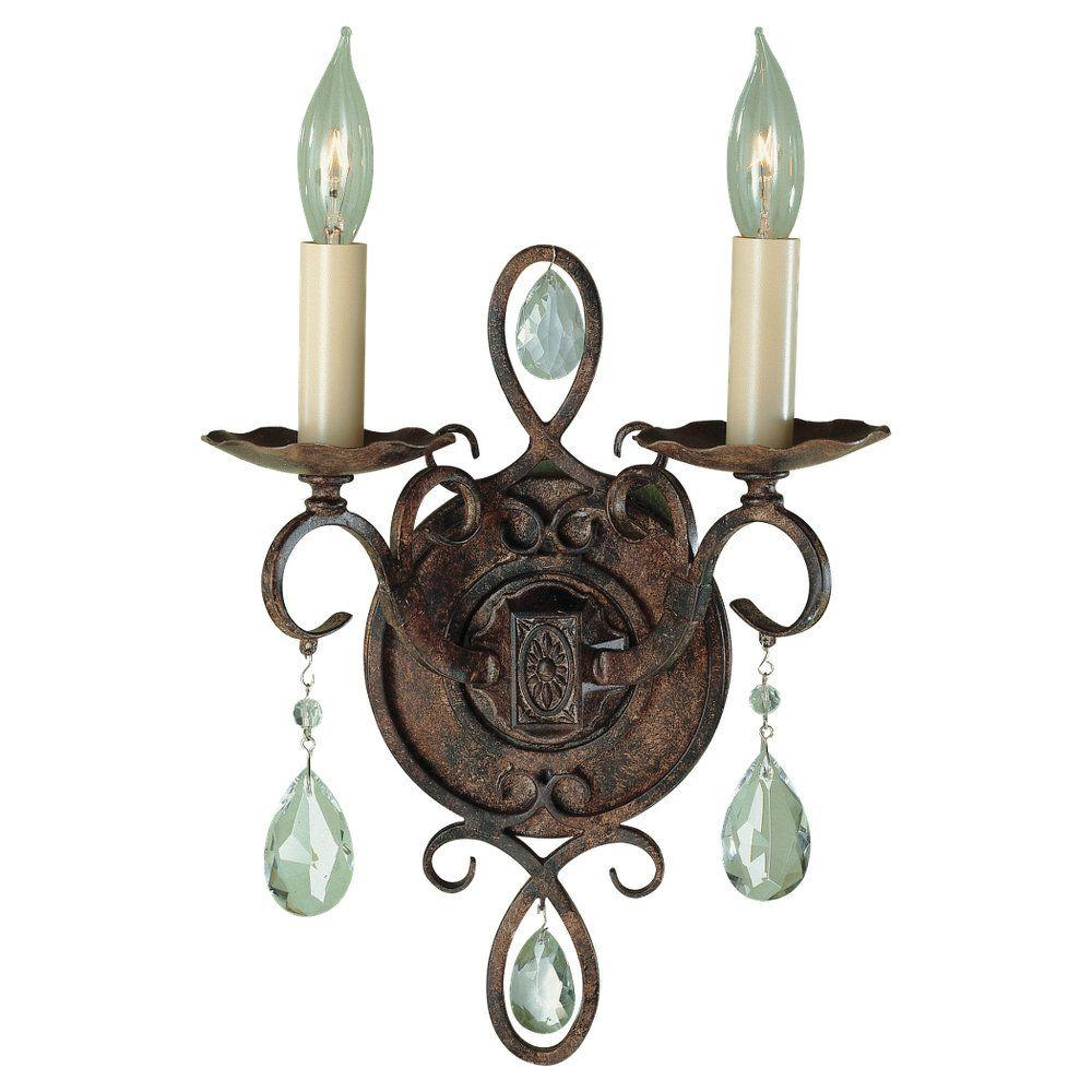 W 2-Light Mocha Bronze Wall Sconce  sc 1 st  Home Depot : 2 light wall sconces - www.canuckmediamonitor.org