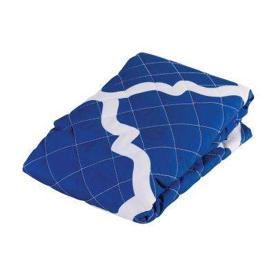 Premium 12 in. x 24 in. 1-Piece Bed Wedge Cover in Blue Moroccan