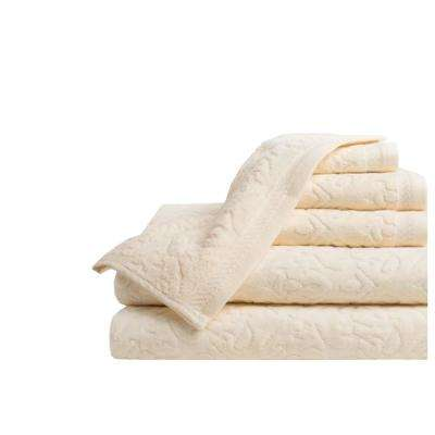 Mallorca 6-Piece 100% Cotton Bath Towel Set in Creme
