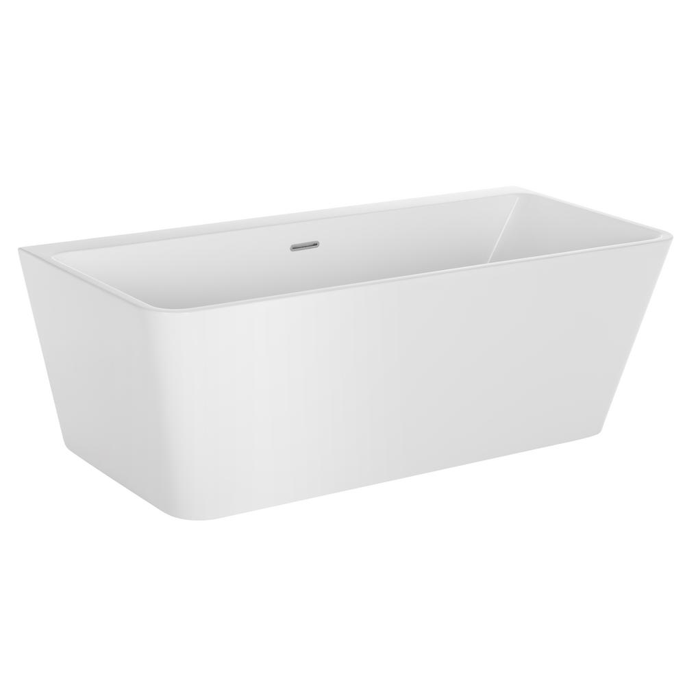 Acrylic Freestanding Bathtub Flatbottom Stand Alone Tub With Contemporary  Modern Design In Glossy White