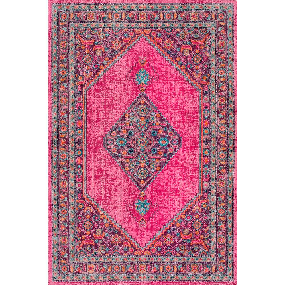 NuLOOM Vintage Medallion Dortha Pink 5 Ft. X 7 Ft. 5 In