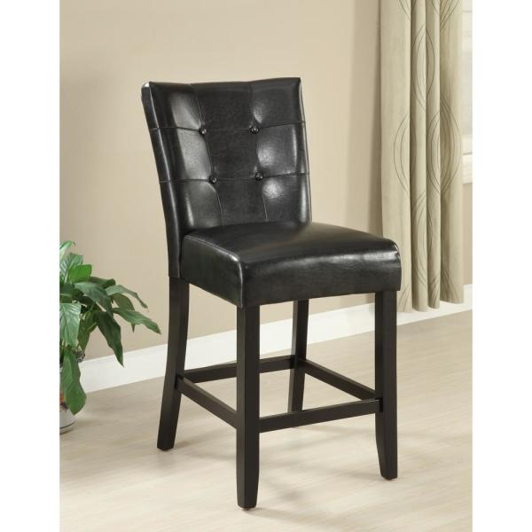 Furniture of America Culligan 26 in. Espresso Leatherette Counter Height Chair (Set of 2)
