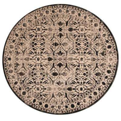 Brilliance Cream/Black 6 ft. 7 in. x 6 ft. 7 in. Round Area Rug