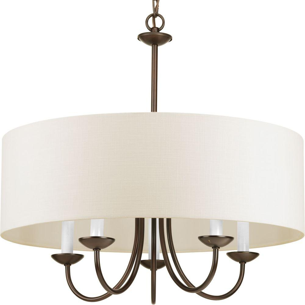Progress Lighting 21 625 In 5 Light Antique Bronze Chandelier With Beige Linen Shade