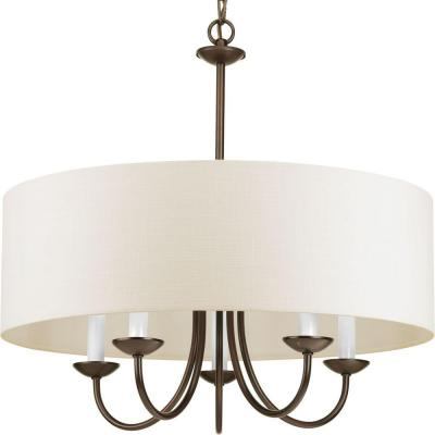 21.625 in. 5-Light Antique Bronze Chandelier with White Linen Shade