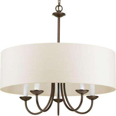 21.625 in. 5-Light Antique Bronze Chandelier with Beige Linen Shade
