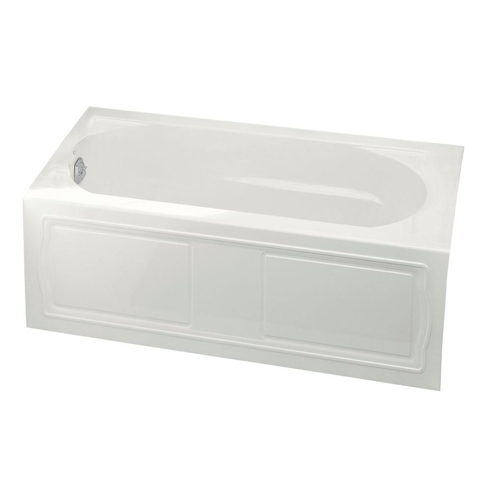 Acrylic Left-Hand Drain Rectangular Alcove Bathtub in Biscuit-K-1184-LA-96  - The Home Depot