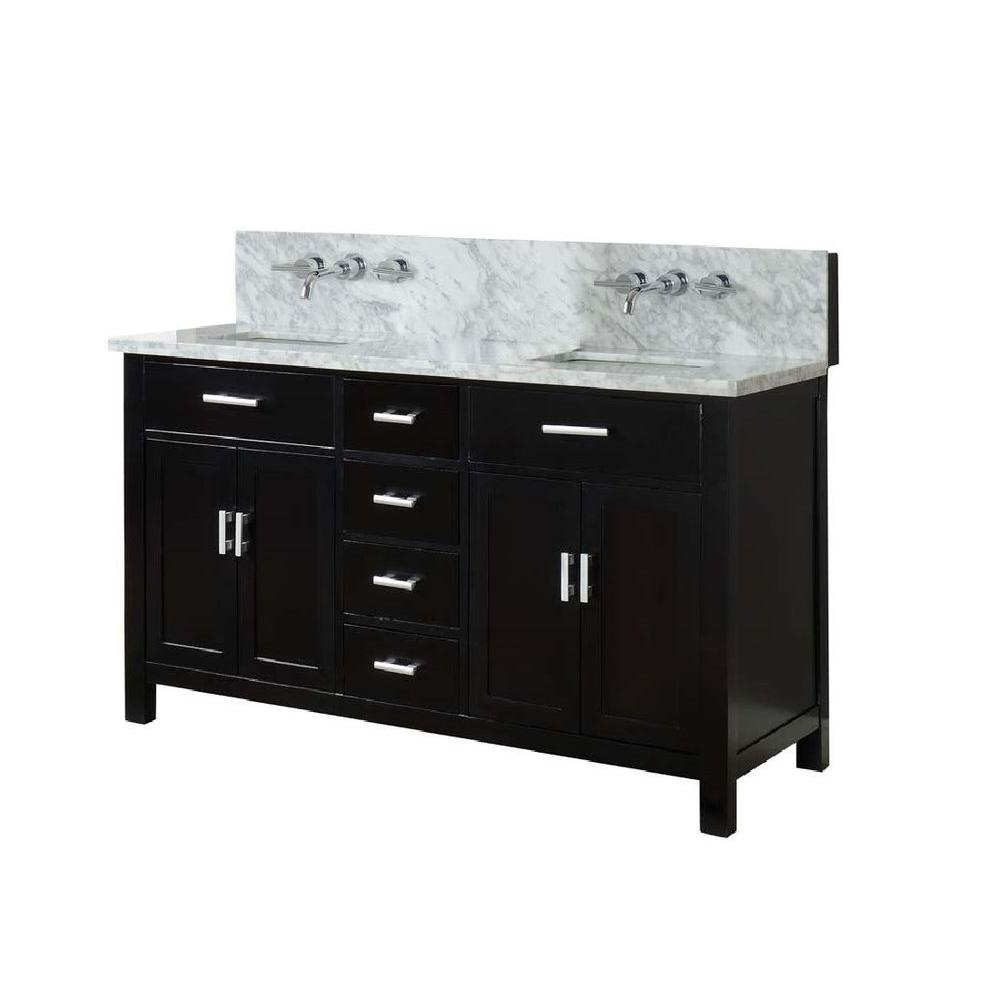 Hutton Spa Premium 63 in. Double Vanity in Ebony with Marble