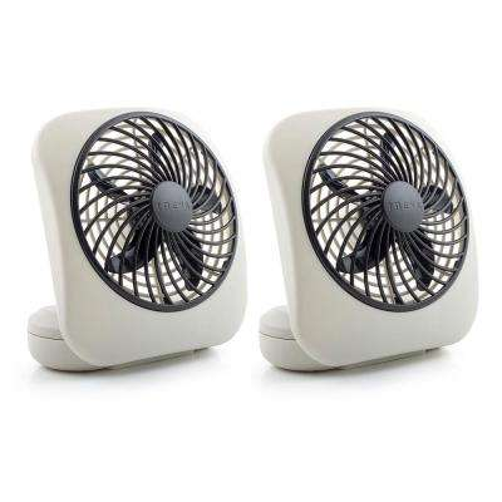5 in. 2-Speed Battery Powered Desk Fan Grey (2-Pack)