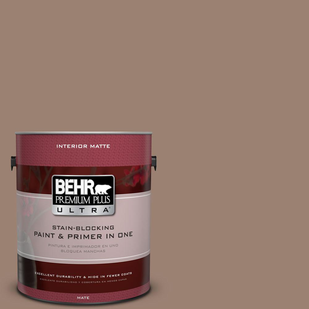 1 gal. #N190-5 Frontier Brown Matte Interior Paint and Primer in