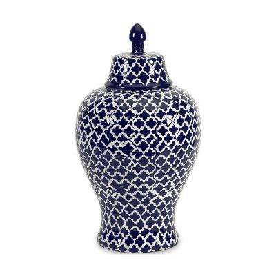 Layla 17.5 in. Navy and White Ceramic Urn