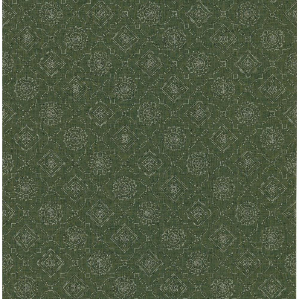 Northwoods Lodge Brown Bandana Print Wallpaper Sample