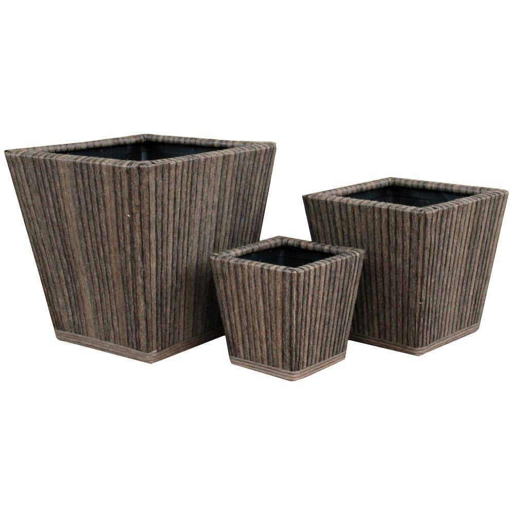 Pride Garden Products Vimini Collection Marsh Square Brown-Wash Vinyl Planters (Set of 3)