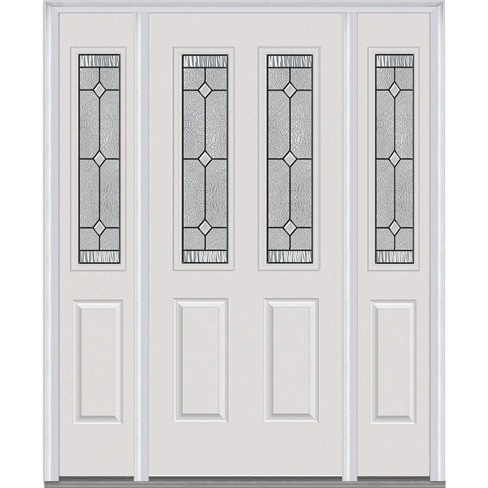 64.5 in. x 81.75 in. Carrollton Decorative Glass 2 Lite Painted