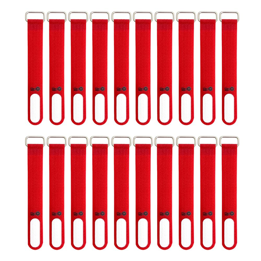 WrapItStorage Wrap-It Storage 5 in. Cinch-Strap Multi-Purpose Hook and Loop Cord Strap with Write on Label in Red (20-Pack)