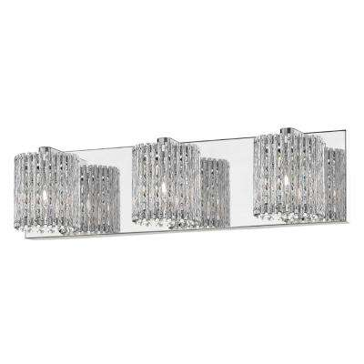 20.47 in. 3-Light Mirrored Stainless Steel Vanity Light with Clear Glass Crystal Strands