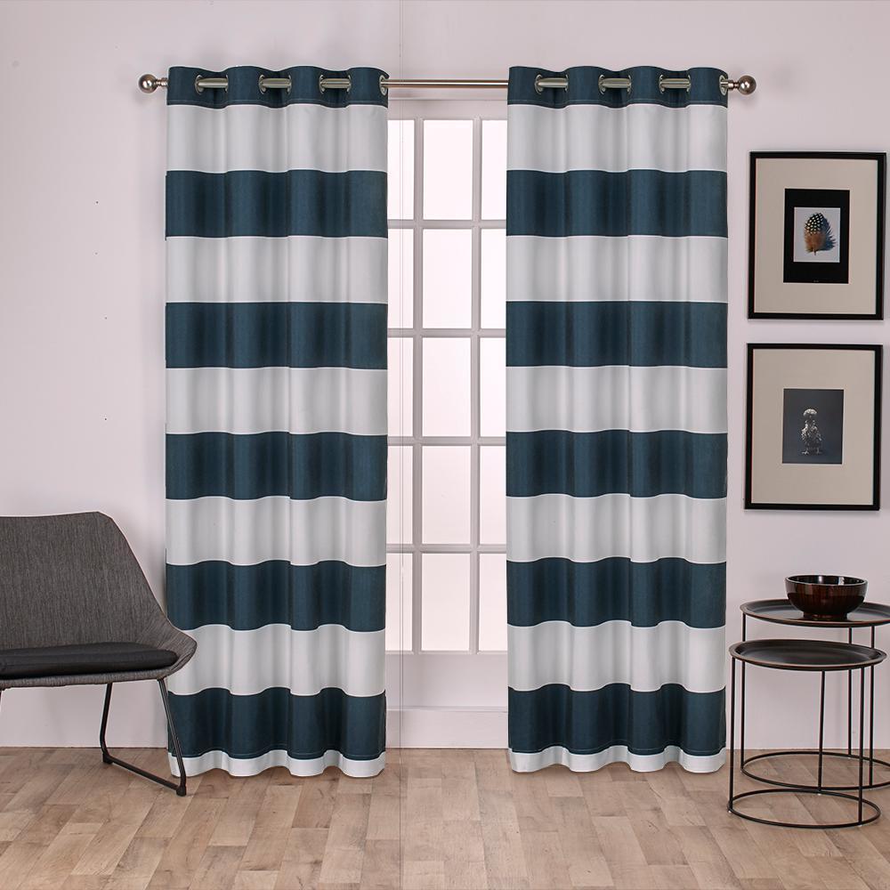 Surfside 54 in. W x 96 in. L Cotton Grommet Top Curtain Panel in Indigo (2 Panels)